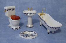 1:12 Scale 4 Piece Ceramic Bathroom Set Dolls House Miniature Accessory 1430