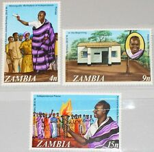 ZAMBIA SAMBIA 1974 120-22 117-19 50th Birthday President Kenneth Kaunda MNH