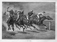 FREDERIC REMINGTON HORSE RACING A CLOSE FINISH JOCKEY 1887 RACE HORSE ENGRAVING