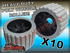"""x10 BOAT TRAILER WOBBLE ROLLERS 4""""  WITH 22-24MM BORE GREY RIBBED POLYURETHANE"""
