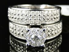 14K Womens White Gold Round Cut Engagement Bridal Wedding Band Ring Set 1.5 Ct