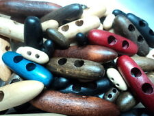 6 x SPECIAL WOODEN BEECH TOGGLE ITALIAN BUTTONS 40mm-W3 NATURAL RED AND OTHERS