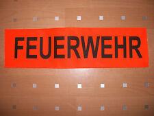 Aufnäher : FEUERWEHR , ca. 46 cm X 12,5 cm ( Leuchtorange )