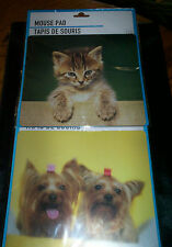 """NEW IN THE PACKAGE PICTORIAL MOUSE MICE PAD * Kitten or Puppies Dogs *  8"""" X 9"""""""