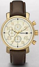 Runde Fossil Armbanduhren mit gebürstetem Uhrengehäuse