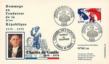 """DG98-CO1 FDC """"40 ans Hommage au Fondateur de la Ve République - DE GAULLE"""" 2008"""