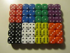 6 Opaque Six Sided Dice 14mm D6 RPG Ideal for Yahtzee New (D002)
