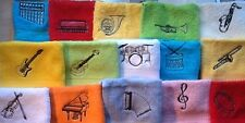 Embroidered music design face flannel/cloth,personalised with name,£3.95  incP&P