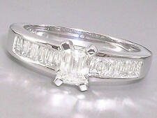 Emerald 18 Carat Not Enhanced White Gold Fine Diamond Rings