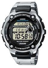 Polierte Casio Armbanduhren aus Edelstahl mit 24-Stunden-Zifferblatt