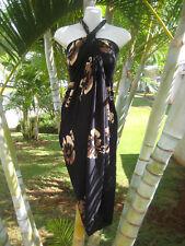 Hawaii Sarong Plus Size Black Hibiscus Coverup Pareo Beach Cruise Wrap Dress