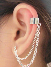 Uk Er A Silver Tone Double Chain Ear Cuff Clip Stud Wrap Earring