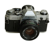 Alte Spiegelreflexkameras mit Objektiv (en)