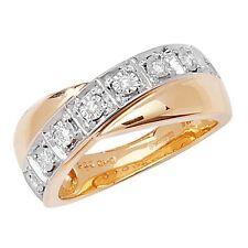 9 Carat Yellow Gold Round Fine Diamond Cocktail Rings