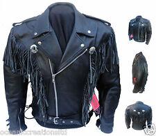 Pour Hommes Noir Moto Cowboy Gland Frange Cruiser Veste Blousons En Cuir FR