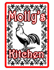 Personalized Kitchen Sign Printed with YOUR NAME Custom Aluminum red rooster 333