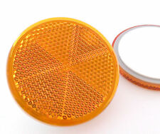 2x Self-Adhesive Amber Yellow Round Circular Trailer Caravan Reflectors 60mm