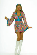 Adult Sexy Hippie Go Go 60s 70s Mod Swirl Disco Costume