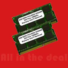 8GB KIT 2X 4GB SODIMM DDR3 Laptop PC3-8500 8500 1066MHz 1066 204-pin Ram Memory