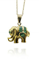 """14K Yellow Gold Elephant Emerald Charm With 14K Yellow 18"""" Gold Chain"""