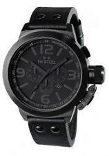 Schwarze TW Steel Armbanduhren mit Armband aus echtem Leder