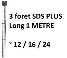 LOT 3 FORET MECHE BETON SDS PLUS CARBURE TUNGSTENE LG 1 METRE DIAM 12 - 16 - 24