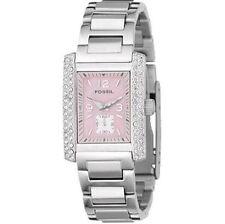 Rechteckige Fossil Armbanduhren mit 12-Stunden-Zifferblatt für Damen