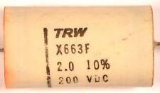 CAPACITOR TRW X663F - 2.0 μF 200 VDC - *UNUSED* *NOS* *VINTAGE* Qty:4