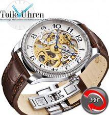 Polierte Mechanisch-(Automatisch) Armbanduhren aus Edelstahl mit Arabische Ziffern