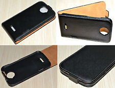 Black Genuine Leather Real Leather Flip Phone Case Cover Skin for HTC One X XL