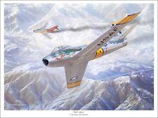 """""""Mig Alley"""" Mark Karvon 24"""" Giclee Print - F-86 Sabre Over Korea"""