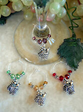4 Wine & Grapes Picnic Basket ~ Wine Glass Charms - Oh Sew Cute Aprons and More