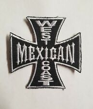 WEST COAST MEXICAN IRON CROSS BLACK WHITE EMBROIDERED IRON ON PATCH SHIPS FREE