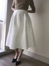 Topshop Cream Textured Midi Full Skirt. Size 12