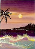 ACEO GLOSSY PRINT Seascape Sunset Hawaii Island Beach Miniature Art Print HYMES