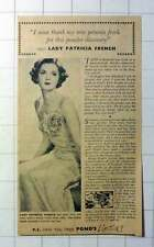 1942 Lady Patricia French Owes Powder Discovery To Her New Petunia Frock