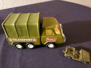 Vintage Buddy L Pressed Tin Army Military Troop Transport Truck Jeep