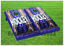 Cornhole Boards BEANBAG TOSS GAME USA Hockey Red White Blue w Bags Set