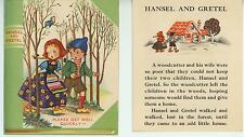 VINTAGE HANSEL GRETEL CANDY GINGERBREAD HOUSE WITCH BREAD STOVE CARD ART PRINT