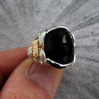 Black Onyx Gemstone Ring in Sterling Silver and 14kt Rolled Gold  Wire Wrapped