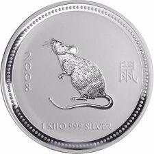 1 Kg Silbermünze Australien Jahr der Ratte 30 Dollar 2007 Lunar I Silber Serie