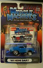 2002 MUSCLE MACHINES  '68 HEMI DART 1968 DODGE RARE BLUE MINT IN PACKAGE