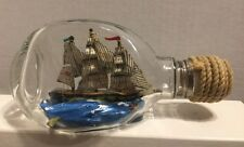 "British Ship In A Bottle With 3 Flags, Pinched Dimple Bottle ML Stamped 6"" Long"
