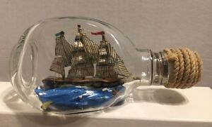 """British Ship In A Bottle With 3 Flags, Pinched Dimple Bottle ML Stamped 6"""" Long"""