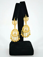 #8703 - Oppulent 22k Gold Chandelier Drop Dangle Earrings