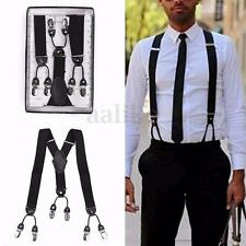 35mm Mens Elastic Suspenders Extra Wide Adjustable Clip-On Braces Y-Back Trouser