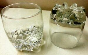 """Bormioli Set Of Two Footed Rocks Tumblers 3 5/8"""" Tall Made In Italy Mint"""