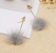 Earrings Boho Festival Party Boutique Uk Gold Grey Long Drop Fluffy Pom Fashion