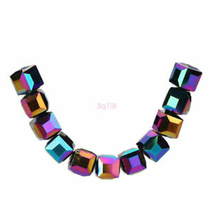 10mm 10pcs Square Crystal Glass Faceted Cube Spacer Loose Beads Jewelry Finding