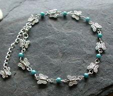 Silver Tones Butterfly Blue Glass Beads Anklet Ankle Bracelet Hippy Festival